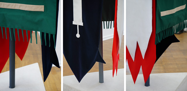 Ahmed Kamel - Artwork - With Us It's Different - Flags, Sculpture, Fabric and Concrete, 100x100x290 cm, 2020